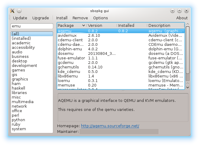 screenshot of sbopkg_gui